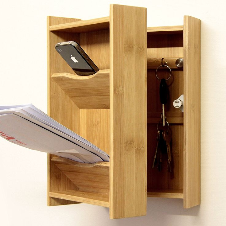 Wall-Mounted Keys Box and Letters Holder, Key Cabinet Made of Natural Bamboo Wood: Amazon.co.uk: Kitchen & Home