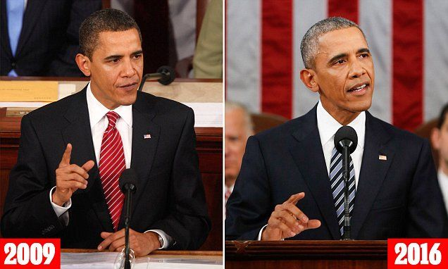 Pictures show how much the presidency has aged Obama http://dailym.ai/1TUgi7S via @MailOnline