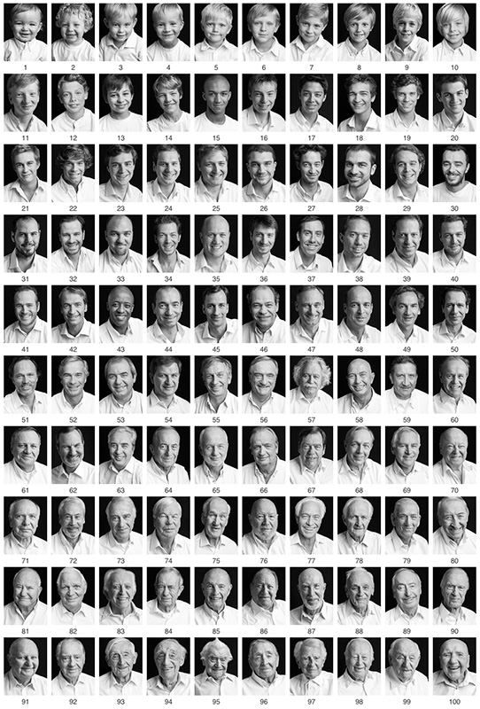 100 Portraits of Men Between the Ages of 1 and 100