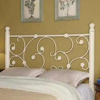 check out the coaster furniture 300185qf fullqueen white metal headboard with elegant vine pattern