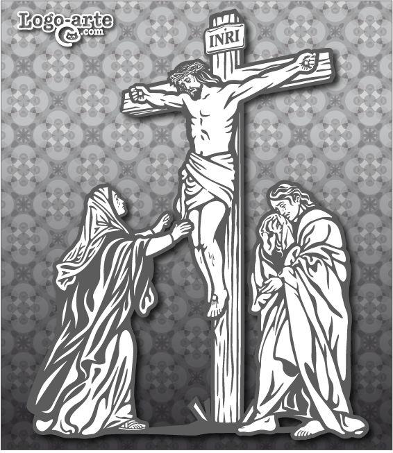 """Duodécima estación del Viacrucis actual: Jesús en la cruz, su madre y el discípulo Esta estación representa a Jesús clavado en la cruz, la Madre de Jesús y Juan evangelista al pie de la cruz. «Jesús le dice a su madre: """"Mujer, ahí tienes a tu hijo"""". Luego dice al discípulo: """"Ahí tienes a tu madre"""". Y desde aquella hora el discípulo la acogió en su casa»"""