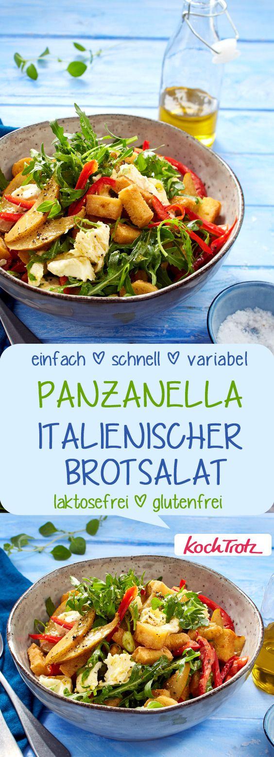 """Der passt immer! Fruchtiger Brotsalat """"Panzanella"""" mit Mozzarella   einfach   schnell   glutenfrei  laktosefrei #panzanella #glutenfrei #laktosefrei #mozzarella"""