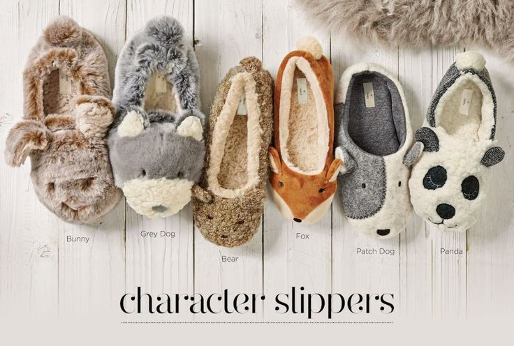 Character slippers to add a little fun to your loungewear! Which animal would you be!?