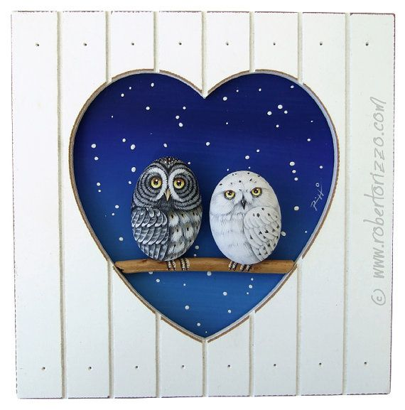 Unique Hand Painted 3-D Heart Shaped Frames with A Great Grey Owl and A Snowy Owl in Love!    My hand painted 3-D paintings are unique pieces of