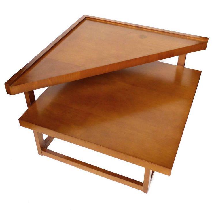 Midcentury Mahogany Tiered Corner Table By Brown Saltman