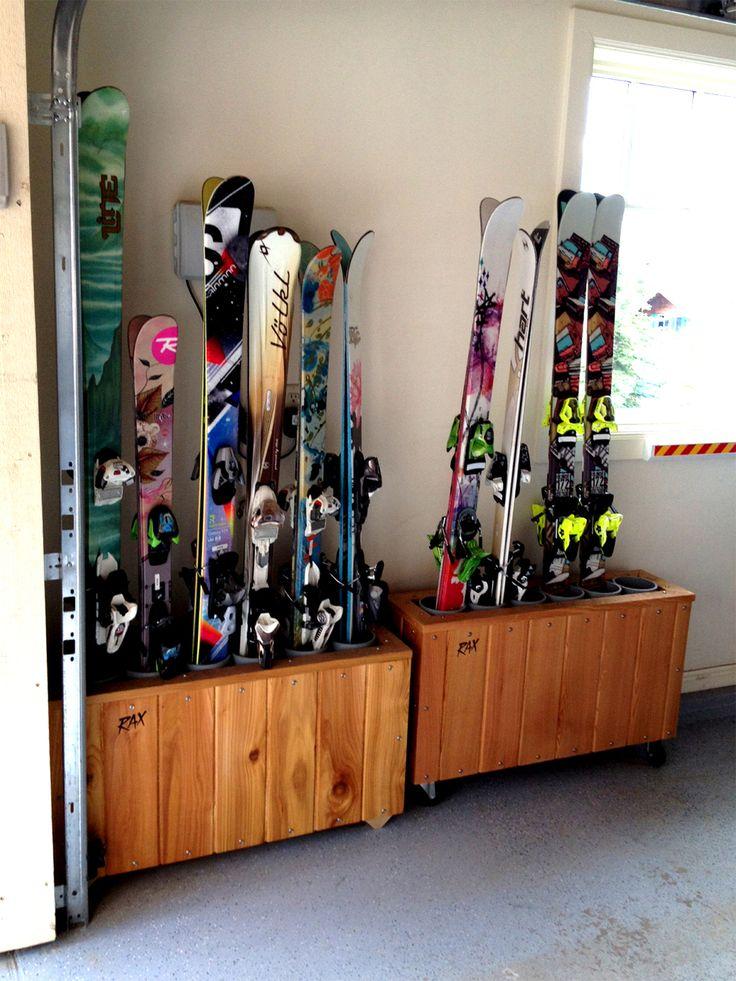 freestanding, hand crafted, cedar ski rack