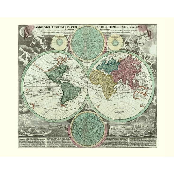 Vintage world wall map for home interior design. Handmade paper print.