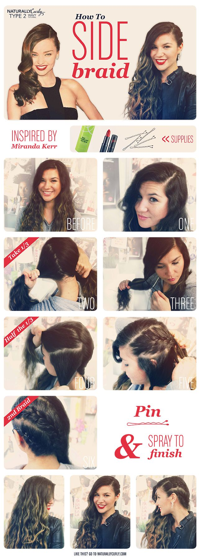 TUTORIAL | Miranda Kerr-Inspired Wavy Side Braid  Edgy and classy at the same time! Super simple :)