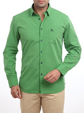 Raymond is one of the finest brand names in the fashion industry. It has a reputation of providing finest quality garments. Keeping its reputation alive, it introduces this casual shirt as a part of its Parx casual wear collection. It is made up of high quality cotton fabric which makes it a wrinkle-free and skin friendly product. This dark green colored shirt features full sleeves and a slim fit design. You can wear this in combination with any light colored trouser to impress your friends.