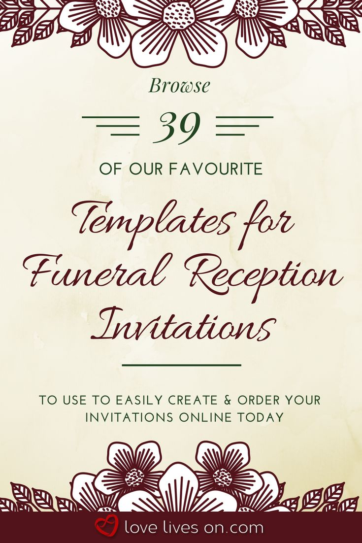 Click to browse 39 of our favourite online templates to make your own funeral reception invitations including pricing & shipping details & learn what information you need to include in your invitation as well as wording samples for different types of after funeral receptions. Funeral Reception Invitations | Funeral Reception | Funeral Invitation Wording | Funeral Invitation Memorial Service | Funeral Invitation Templates | After Funeral Reception