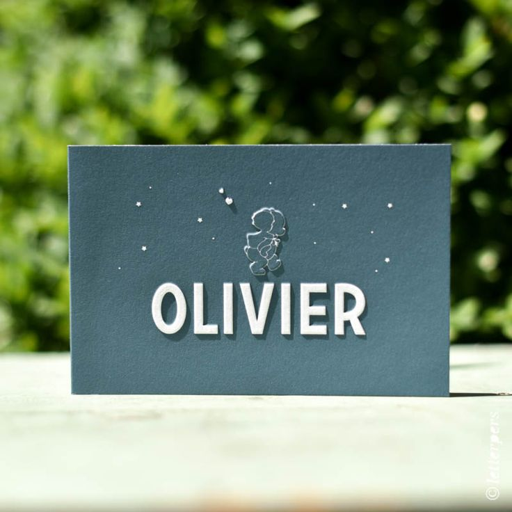 Geboortekaart Olivier met preeg letterpers letterpress