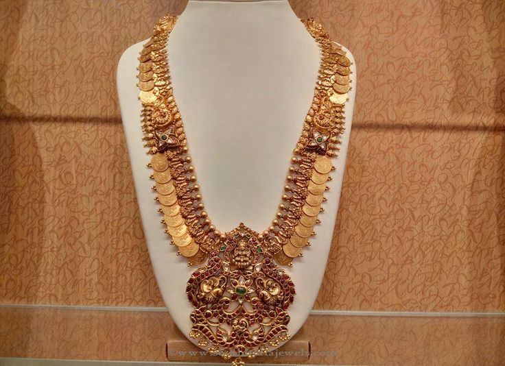 Gold Antique Lakshmi Kasumlai, Gold Antique Lakshmi Haar, Gold Long Coin Necklace Design.