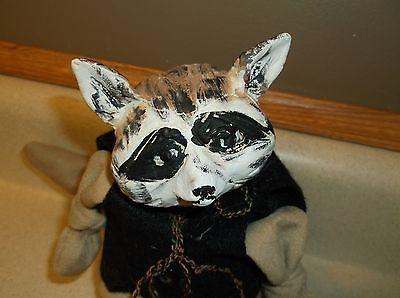 Folk-Art-raccoon-hand-made-doll-rag-wooden-body-Unique-unsigned-Unusual