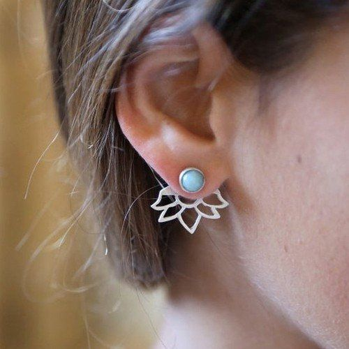 Cute Ear Piercing Ideas - Kai Turquoise Ear Jacket Earring - Bohemian Style Clothing and Outfits at MyBodiArt.com