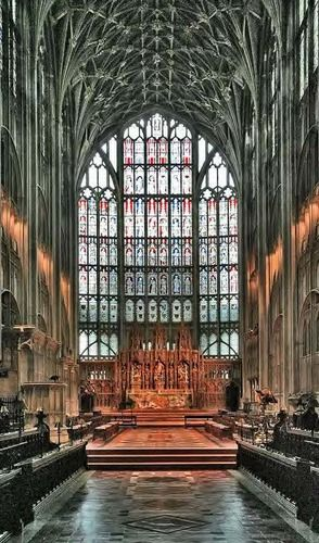 Gloucester Cathedral boasts the largest stain glass window in England ~ installed in the 1300's.