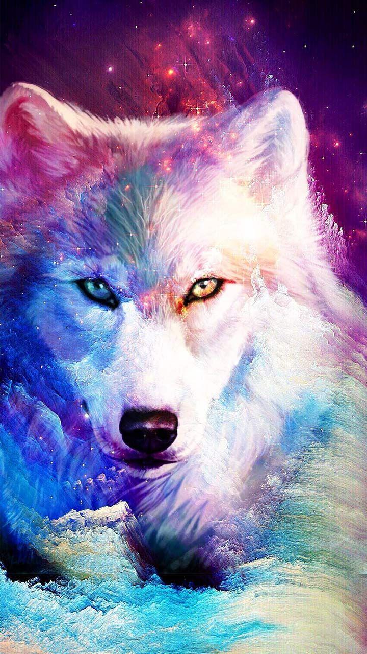 Galaxy Glitter Wolf Theme Wolf Artwork Cute Animal Drawings Wolf Painting