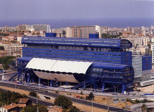 """Hôtel du Départment des Bouches-du-Rhône (""""The Big Blue""""), Marseilles, 1993, Will Alsop"""