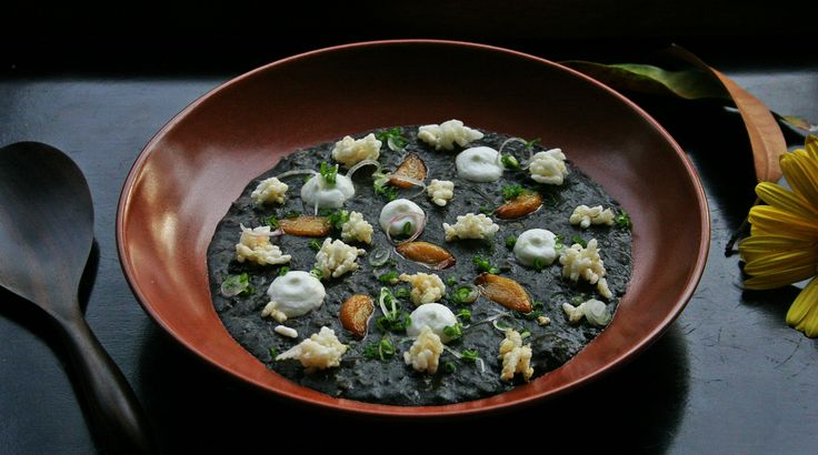 "BLACK SQUID ""RISOTTO"": hand cut squid grains, vegetable stew, garlic cream, popped rice. Where else but in Cuca could you find a risotto with no rice? Ours is literally all about fresh meaty squid cleverly hand cut and delicately poached in vegetables we lovingly cooked for hours. #tapas #Chef #KevinCherkas"