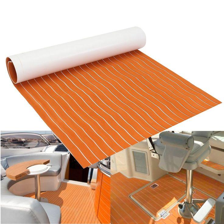 78''x23'' Orange + White line Self Adhesive EVA Foam RV Touring Car Mat Teak Sheet Boat Yacht Synthetic Decking 120cmx200cm
