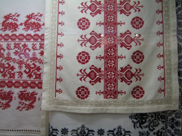 Hungarian embroidery, costumes, pottery, jewelry, and other historical and cultural objects at the museum in Vesprem and the small museum in Harskut.
