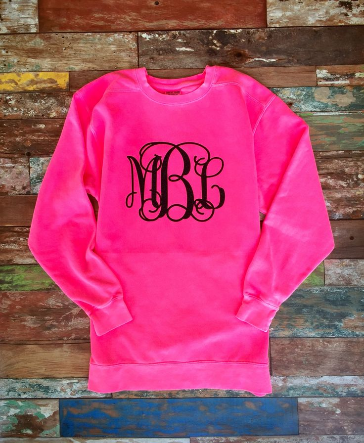 Glitter Monogrammed Neon Pink Sweatshirt, Glitter Monogram Sweat shirt, Pullover, Sweat Shirt, Monogrammed Christmas gifts by PoshPrincessBows1 on Etsy