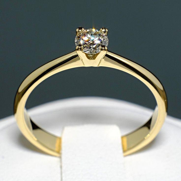 Inel din aur galben cu diamant model i026