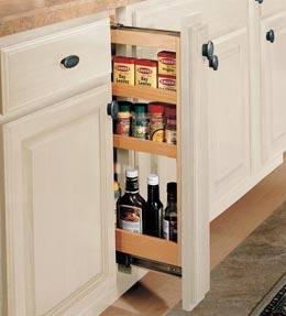"Base Filler Pull-out  A slim cabinet that's big on storage. Fits in space meant for 3"" filler and offers three storage shelves for spices and more. Great next to your cooktop."