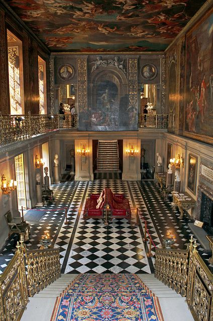 The painted Hall, Chatsworth House, home to the Duke and Duchess of Devonshire, and has been passed down through 16 generations of the Cavendish family.