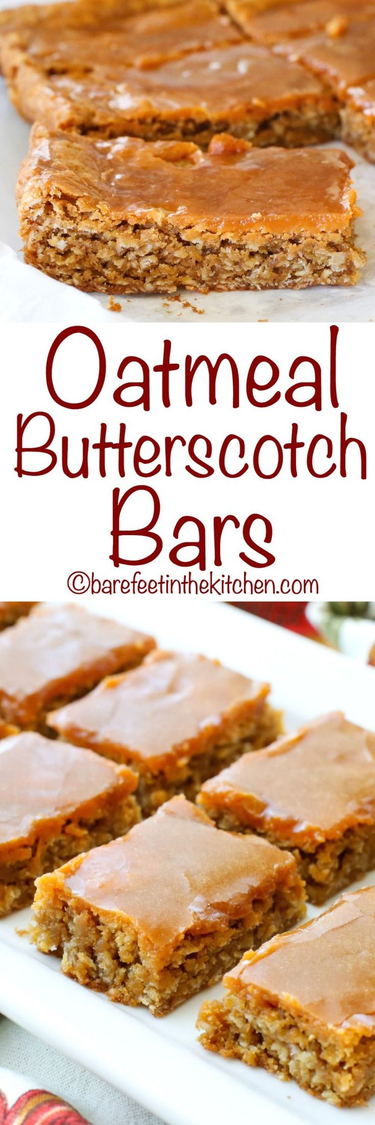 Oatmeal Butterscotch Bars - get the recipe at barefeetinthekitchen.com