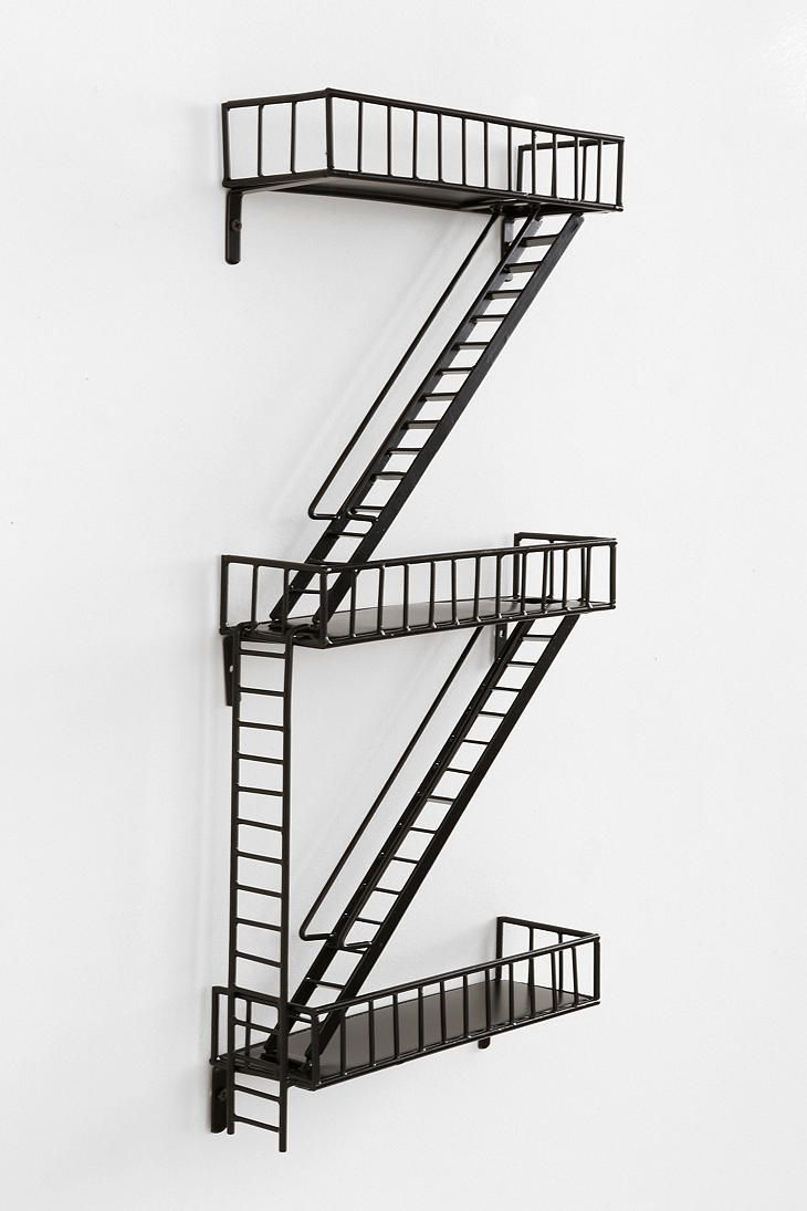"Fire Escape Wall Shelf from urban outfitters ... store ""action figures"" on it!"