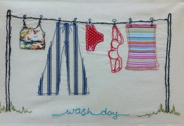 Free motion machine embroidery - 'Wash Day' by Blossom Fair www.blossomfair.wordpress.com