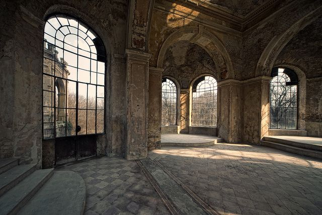 Inside old abandoned castle left to decay.