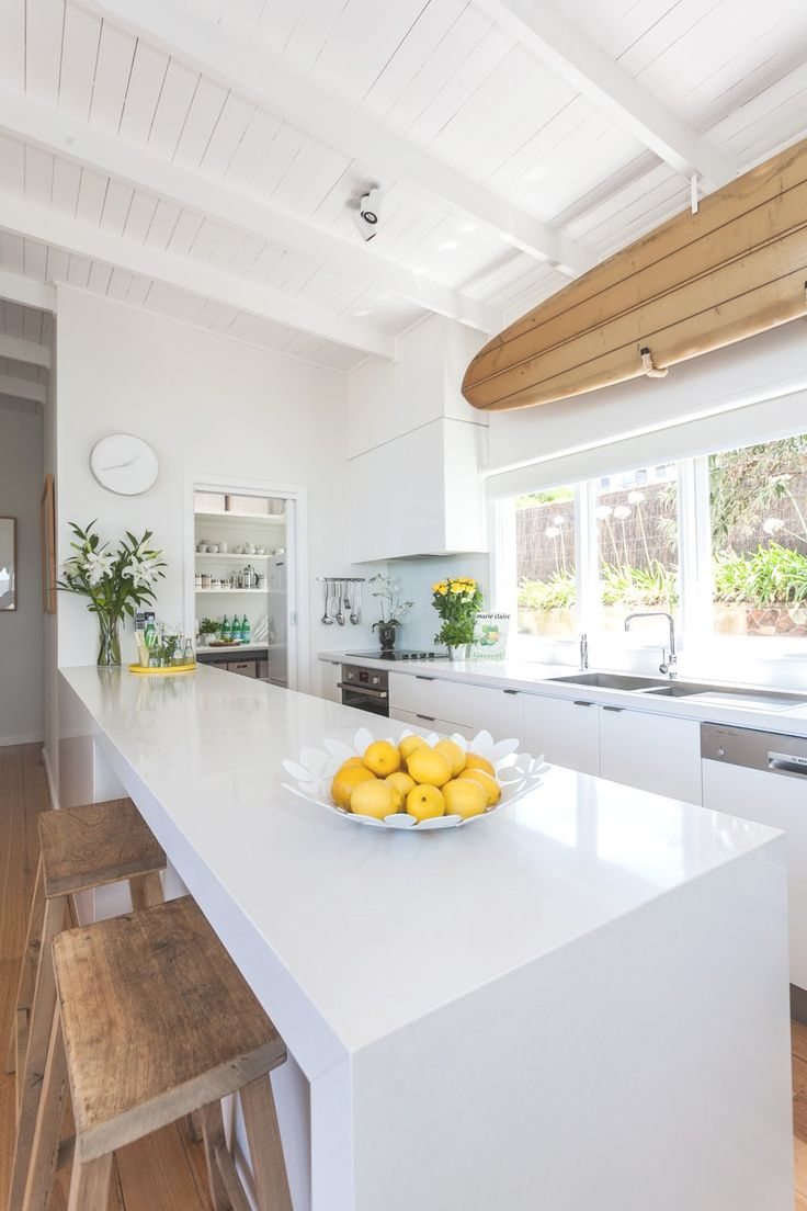 coastal kitchen with a pop of yellow