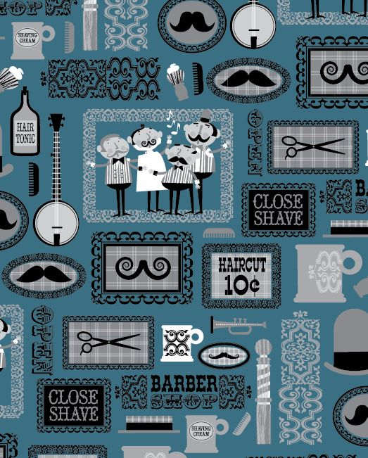 Barber Shop Quartet on Behance If this was a wallpaper border...I would use it. It's cute.