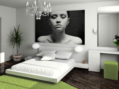 Stimmige Schlafzimmer Einrichtung in Weiß und Grün