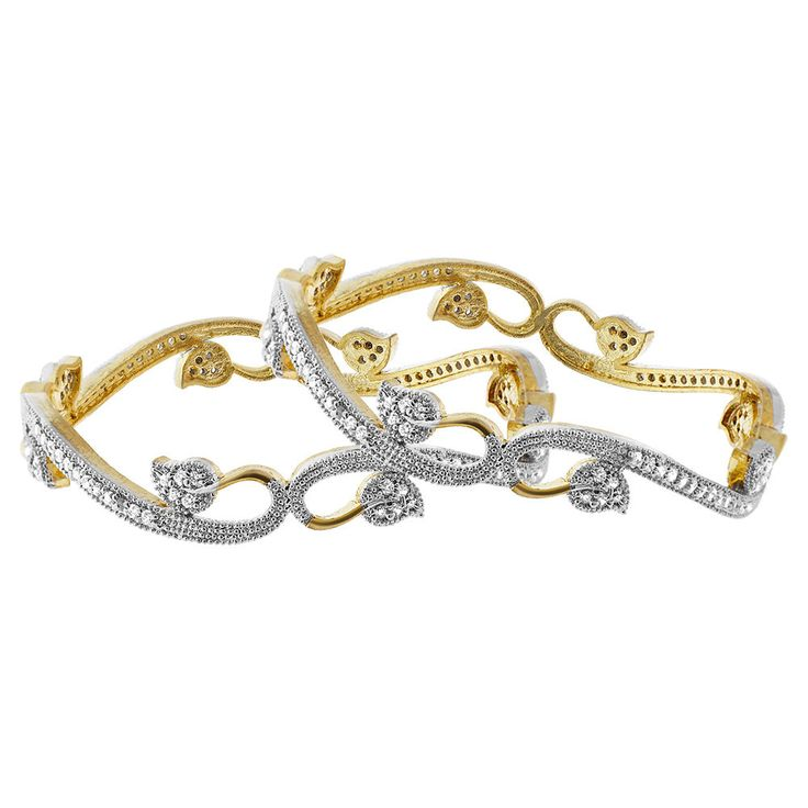 22k Gold Plated Cubic Zirconia Curly Leaf Design Bangle Bracelet set of 2. The Measure of the Bangle is 9mm wide. The Inside Diameter of the Bangle is 57mm. The