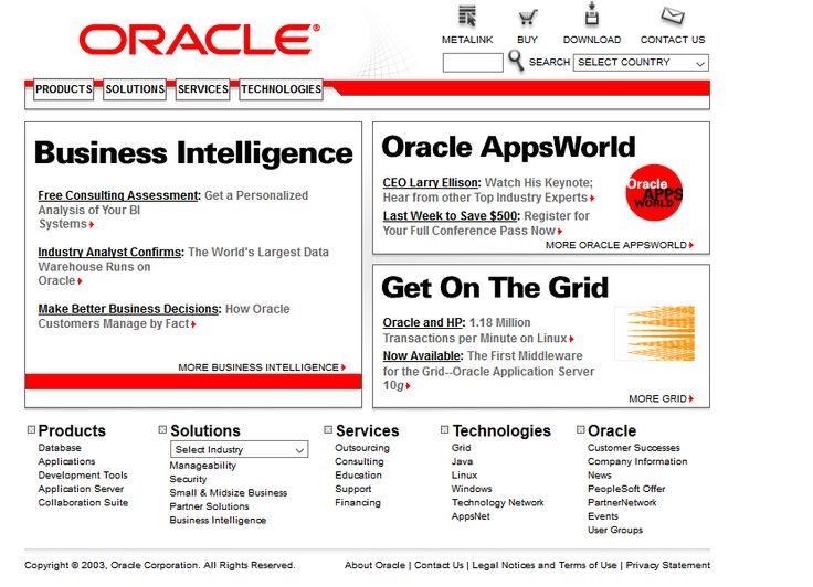 Oracle website in 2005