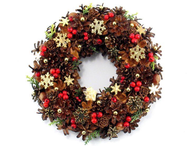 Wianek Świąteczny, Wianek z aniołkiem - Zielonepalce - Dekoracje bożonarodzeniowe
