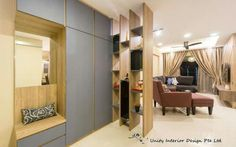 Shoe cabinet with display divider. Contemporary interior design concept for a 4 rm DBSS HDB project. - Samuel, Unity ID.