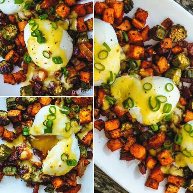 Good morning! Today is Day 7 of my #Whole30! I hope everybody enjoyed the recipes all week. I've got some special ones lined up today. Starting with #brunch this was a fun southern inspired hash I made on my last Whole30 when I needed something for guests that was also compliant. Recipes for the hash and blender hollandaise are below. Top with your choice of fried sunny side up eggs or #poachedeggs (as pictured, I did sous vide poached eggs.) Enjoy! - @thekitchenista  CRISPY OKRA, SWEET…