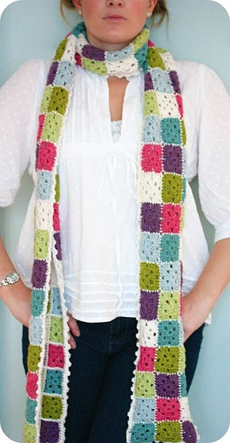 Crochet granny square scarf. I would not do this as long, and use different grannys and color. Great for inspirtation!