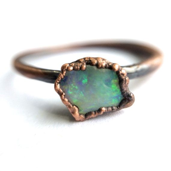 Opal engagement ring Raw opal stone ring Rough opal by HAWKHOUSE