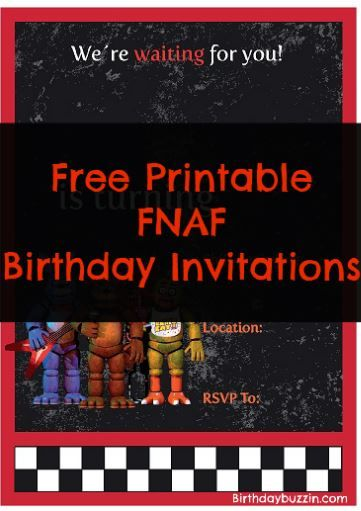 Free Printable Five Nights At Freddys Birthday Invitations