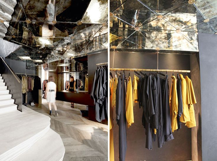 Herringbone floor, mirrored ceiling.... yum! Damir Doma Store by March Studio // Paris, France.   yellowtrace blog »