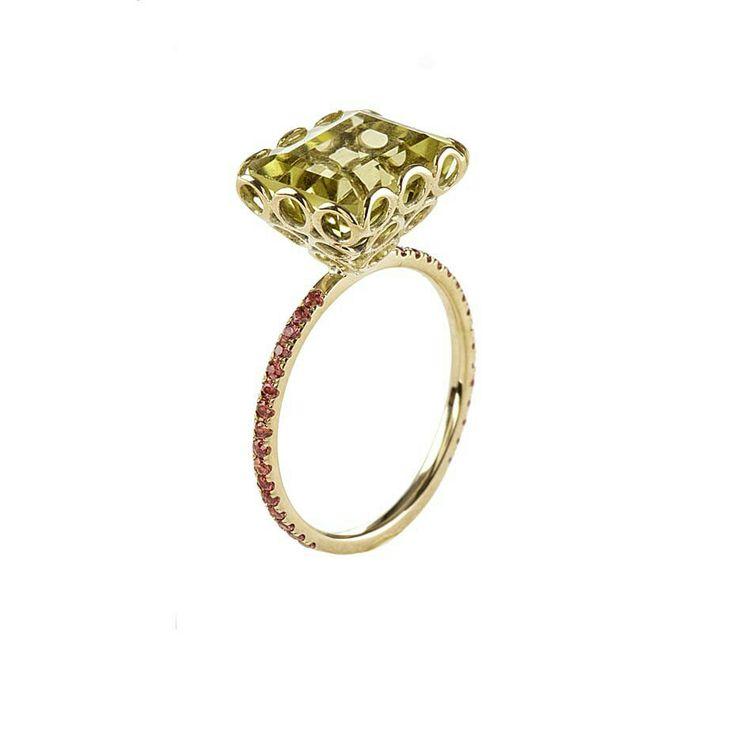 Lito yellow gold ring with a 4.5ct baguette-cut lemon quartz and orange brilliant-cut sapphires