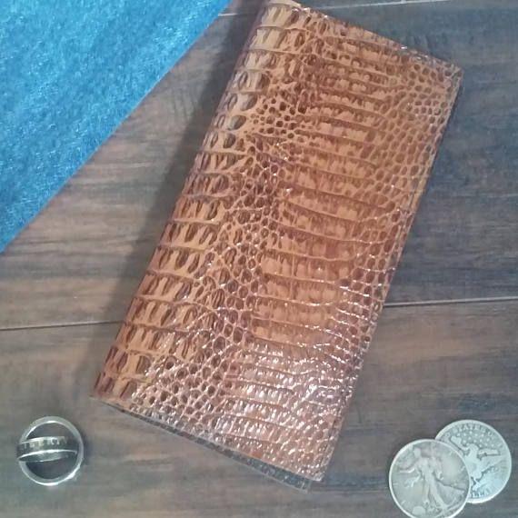 Leather Long Wallet, Checkbook wallet, Genuine Leather Men's Wallet, Alligator Wallet, Long Wallet