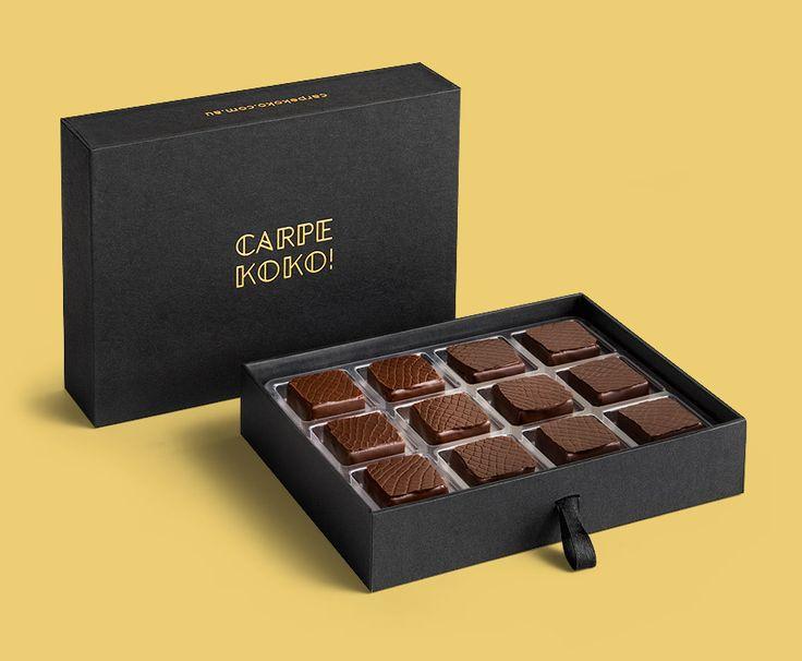 CARPE KOKO! Mandarin Confit - 12 piece chocolate gift box. Buy online for delivery Australia wide www.carpekoko.com