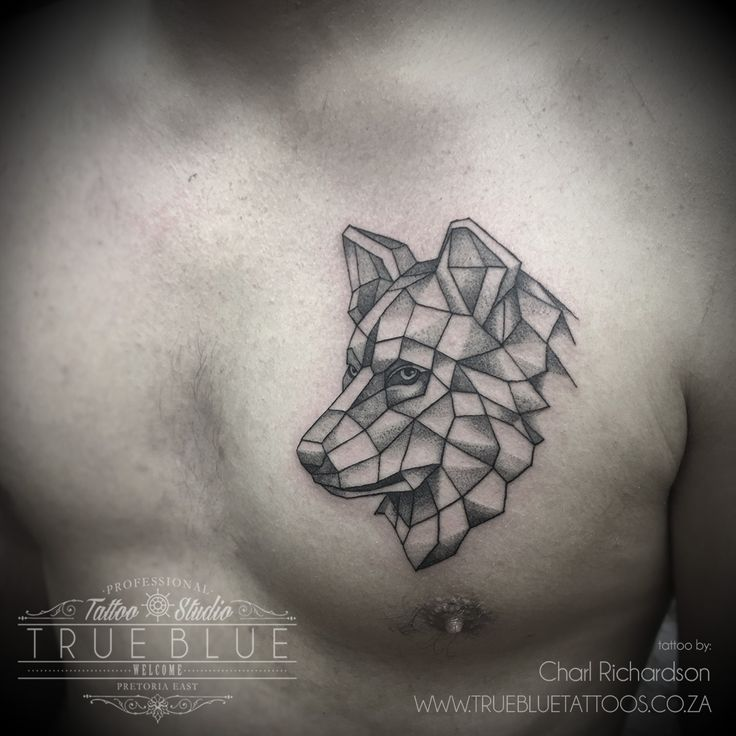 """Geo Wolf"" by Charl Richardson of True Blue Professional Tattoo Studio"