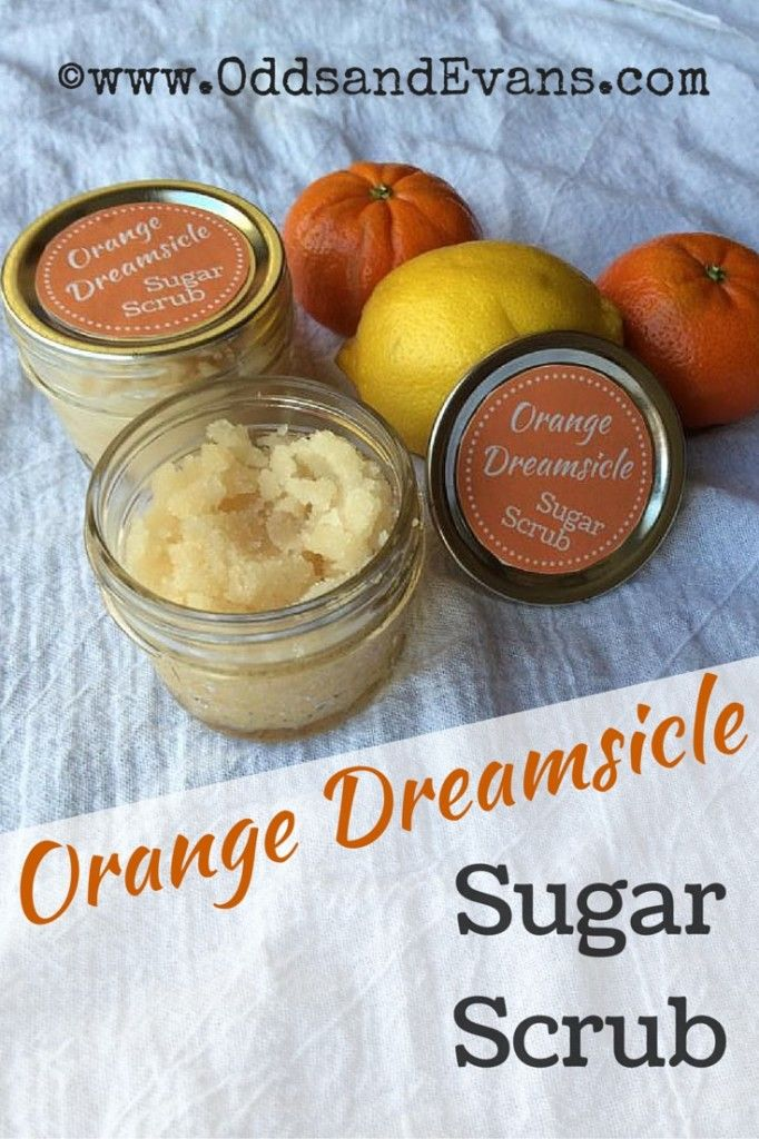 This homemade orange creamsicle sugar scrub will leave your skin energized and soft. Makes a great gift for yourself or others with my free printable label! |OddsandEvans.com