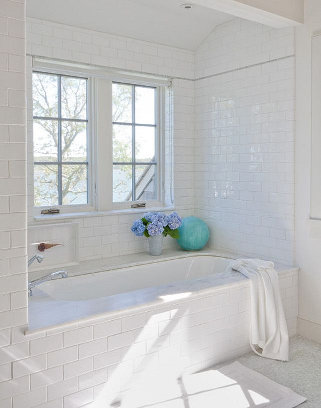 Subway Tiles Bathroom Subway tiles #Bathroom....kinda like how the tub is tiled in